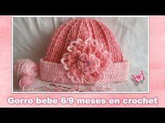 GORRO PARA BEBE DE 6/9 MESES en crochet PASO A PASO - YouTube