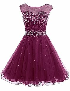 New Sarahbridal Women's Short Tulle Beading Homecoming Dresses Prom Party Gowns online - Findandbuytopstyle Cute Prom Dresses, Grad Dresses, Dance Dresses, Pretty Dresses, Homecoming Dresses, Beautiful Dresses, Dresses 2016, Prom Gowns, Party Gowns Online