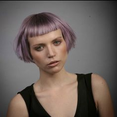 Silver/Violet Baby Bob - With Baby Bangs Edgy Short Hair, Short Bangs, Short Hair Cuts, Short Hair Styles, Micro Pony, Punky Hair, Pelo Pixie, Lilac Hair, Hair Reference