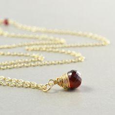 Garnet Necklace January Birthstone Jewelry Valentines by NansGlam, $40.00