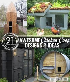Chicken coop designs & plans, cheap and easy homesteading projects . | http://pioneersettler.com/chicken-coop-designs-and-ideas/