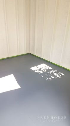 The floor in this white bright and airy she shed makeover is dark grey, and compliments the black cage lights and accents. Pool Shed, Backyard Sheds, Craft Shed, Diy Shed, Building A Storage Shed, Shed Storage, She Shed Decorating Ideas, Garden Shed Interiors, Shed Makeover