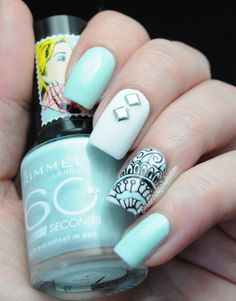Be simple yet beautiful: top 65 picks for elegant nail art designs Mint Nails, White Nails, Fabulous Nails, Perfect Nails, Love Nails, Pretty Nails, Mandala Nails, Elegant Nail Art, Classy Nails