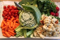 Baby Shower Veggie Tray Ideas | ... veggie tray (the cabbage was hulled out and stuffed with spinach dip