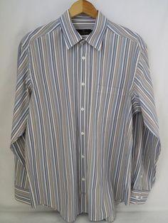 BUGATCHI UOMO Men's Long Sleeve Button FrontCotton Shirt Size XL Striped Classic #BUGATCHIUOMO