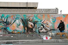 alice pasquini, featured on thisiscolossal.com. i ilke this picture + the dogs + the bag in the front