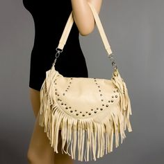 Flapover Fringe Hobo With Studs  Purse
