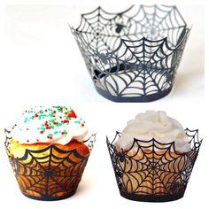 Saia de cupcake teia de aranha #halloween #wrappers