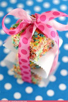 Rainbow Krispie treats with Fruity Pebbles. Fun idea for the kids..