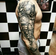 What does gladiator tattoo mean? We have gladiator tattoo ideas, designs, symbolism and we explain the meaning behind the tattoo. Tribal Art Tattoos, Tribal Wolf Tattoo, Tattoo Wolf, Henna Tattoos, Tattoos Pics, Celtic Tattoos, Geometric Tattoos, Flower Tattoos, Tattoos Arm Mann
