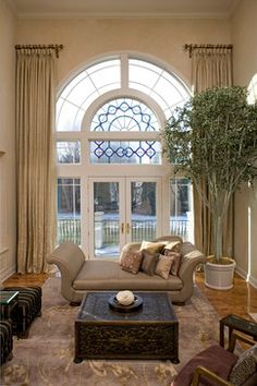 North Oaks Window Treatments mediterranean living room