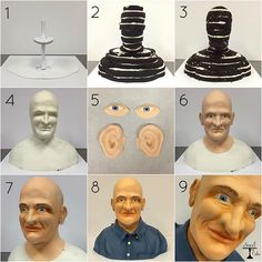 For anyone who's curious how the human bust cake came together, here's a basic overview: 1. Boards & internal structure; 2. The cake is assembled into the rough shape of a bust; 3. The cake is sculpted; 4. Iced in buttercream with facial details; 5. Eyes & ears made separately; 6. The head is covered in fondant and the eyes & ears are applied; 7. The face is airbrushed and eyebrows & (very short) gray hair are painted on; 8. The emperor gets his clothes--the cake is complete! 9. I seeeeeee…