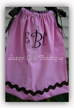 #girls #pillowcase #dress in a solid #pink with #brown #ricrac and #monogrammed #initials!