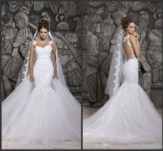 Custom Made 2014 Beautiful Court Train Illusion Transparent Back Beaded Lace Mermaid Wedding Dresses Bridal Gowns D41 New Sexy Dress, $139.42 | DHgate.com