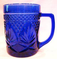 Cristal D'Arques Mugs Cobalt Blue Antique Pattern