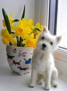 needle felted Westie-Robbie look at the amazing detail and facial expression on this felt figure of a dog , it is so beautifully and realistically sculpted you could believe it would jump up any moment and wag its tail and lick your face