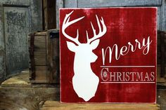 Hand Painted, rustic deer Merry Christmas wooden sign by MKD. Christmas Wooden Signs, Merry Christmas Sign, Pallet Christmas, Christmas Canvas, Holiday Signs, Christmas Paintings, Rustic Christmas, Christmas Art, Christmas Projects