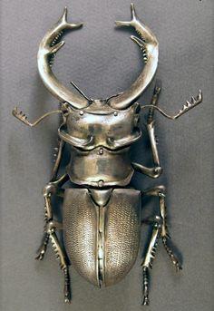 Rhinoceros beetle by Oleg Konstantinov. Silver dipped
