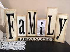 Family Wooden Block set for the Home by FayesAttic11 on Etsy, $45.00