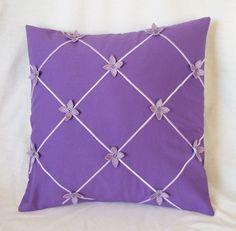 "Lilacs R Purple Pillow Embroidery 14""  Swarovski Crystals Cotton"