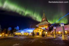 Santa Claus Village in Rovaniemi in Lapland in October under Northern lights