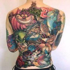 – Cool Tattoo Designs – Yeni Dizi - Famous Last Words Disney Tattoos, Cartoon Tattoos, Disney Sleeve Tattoos, Wicked Tattoos, Badass Tattoos, Body Art Tattoos, Back Tattoos For Guys, Full Back Tattoos, Tattoo Life