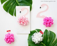 Pink Flamingo Birthday Party - Five Marigolds - Christi Segura - Pink Flamingo Birthday Party - Five Marigolds Girly Pink Flamingo Birthday Party - tropical pool party for girls with DIY tutorials for printable Flamingo Favor bags and bow napkin rings Flamingo Craft, Pink Flamingo Party, Flamingo Gifts, Flamingo Birthday, Pink Flamingos, Flamingo Pool, 10th Birthday Parties, Birthday Party Favors, Birthday Invitations