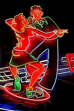 Jitterbugging ~ by Tom Spaulding, Neon Cool Neon Signs, Vintage Neon Signs, Neon Light Signs, Neon Licht, Neon Moon, Neon Words, O Gas, Neon Rainbow, Neon Aesthetic