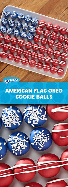 "shouts ""Go Team USA"" like this recipe for American Flag OREO Cookie Balls. Sweet cream cheese and crunchy OREO cookie come together for a delightfully delicious dessert. Easy to make and great for a crowd. Preps in 30 mins! 4th Of July Desserts, Fourth Of July Food, Desserts For A Crowd, 4th Of July Celebration, 4th Of July Party, Köstliche Desserts, Holiday Desserts, Holiday Treats, Holiday Recipes"