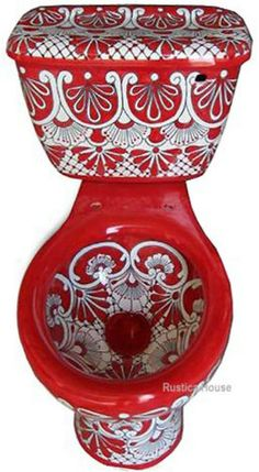 Mexican toilet with classic red pattern. The toilet design consists of one color flowers, lines and dots carefully hand painted over rustic white ceramic. #mexciantoilets #myrustica #bathroom #homeimprovement