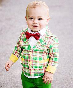 Look what I found on #zulily! Red & Green Plaid Hayden Blazer - Infant, Toddler & Boys by RuggedButts #zulilyfinds