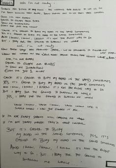 Snakes handwritten lyric