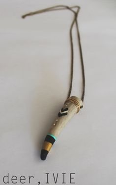 Deer Antler Necklace - Chevron/Gold Accent
