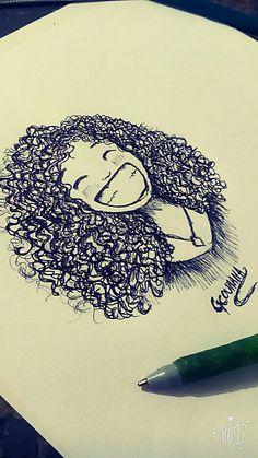 Drawings Of Black Girls, Girly Drawings, Cartoon Drawings, Cartoon Art, Girl Drawing Sketches, Art Drawings Sketches Simple, Pencil Art Drawings, Portrait Sketches, Tumblr Drawings Easy