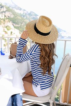 coastal style outfits, beach outfit, spring in the south, straw hat, striped shi… 2019 Summer Hats, Summer Wear, Spring Summer Fashion, Pink Summer, Outfits With Hats, Mode Outfits, Fashion Outfits, Dress Outfits, Fashion Goth