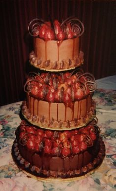 Another throwback from my early days. Groom's cake. #nonnas_sweets #homemade #chocolate #strawberries #swirls #groom