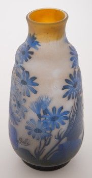 "Galle Cameo Vase with Flowers This is a highly detailed Emile Galle cameo vase. The blue flowers appear to be stylized daisies. The veins in the leaves and the flower petals are visible. The side of the vase is signed ""Galle"" in cameo. 7.75 inches tall."