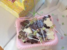 Daddy to be worked hard making these chocolate lollipops!