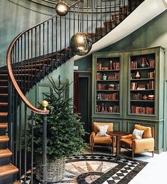 Fresh Christmas tree in green foyer (@bateni.m) • Instagram photos and videos Loft Staircase, Spiral Staircase, Stairs, Fresh Christmas Trees, Christmas Greenery, Book Works, Entry Hallway, Foyer, Green Rooms