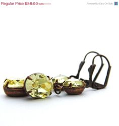 SALE Yellow Champagne Earrings Swarovski Jonquil by JewelryByMagda, $30.40