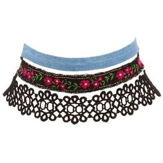 Charlotte Russe Crochet, Denim & Embroidered Choker Necklaces - 3 Pack ($6) ❤ liked on Polyvore featuring jewelry, necklaces, accessories, chokers, black, choker necklace, embroidered jewelry, denim jewelry, crochet necklace and embroidery necklace