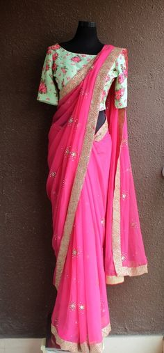 Check images for Priti Sahni Designs. Explore their work and contact them for prices and availability. Best Indian Saris CLICK Visit link to see Fancy Sarees, Party Wear Sarees, Pakistani Outfits, Indian Outfits, Indian Clothes, Baby Pink Saree, Simple Sarees, Simple Anarkali, Saree Trends