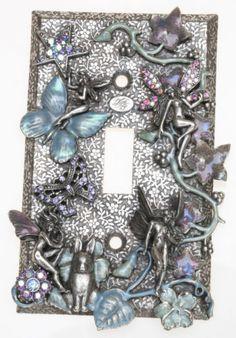 KIRKS FOLLY FAIRY WOODLAND LIGHT SWITCH PLATE antique silvertone