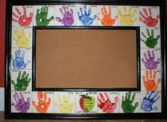 Handprint Bulletin Board - take out 4 tiles and you have 15 kids