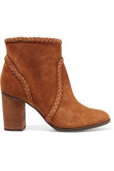Schutz Woman Studded Mesh-trimmed Suede Ankle Boots Brick Size 8 Schutz URZCmi