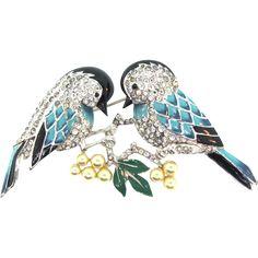 1940 BOUCHER Lovebirds Birds Enamel Pave Rhinestone Fx Pearl Brooch Pin BK PC