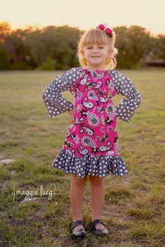 Long Sleeve Peasant Dress Tutorial | Instant Download - Long Sleeve Peasant Ruffle Dress PDF Sewing pattern ...