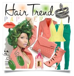 """Nick Minaj | Hair Trend"" by cristine-rosa on Polyvore featuring beauty, Nicki Minaj, Tagliatore, Balmain, Jimmy Choo, Guerlain, Christina Debs and Moritz Glik"