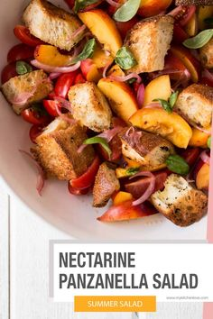Bright, colorful and crazy delicious Nectarine Panzanella Salad with homemade basil croutons (seriously the best summer has to offer!). Winter Salad Recipes, Best Salad Recipes, Salad Dressing Recipes, Side Recipes, Vegetarian Recipes, Delicious Recipes, Delicious Dishes, Amazing Recipes, Summer Recipes