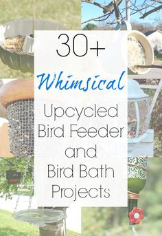 Upcycling your way to the best bird feeders and DIY bird bath ideas is EASY with this collection of upcycled and repurposed feeder and bird bath ideas that Sadie Seasongoods compiled. From light fixtures to baking pans to unexpected thrift store finds, your birds will LOVE these ideas and your yard will look cuter than ever. Get inspired at www.sadieseasongoods.com . #upcycled #birdbath #birds #birdbaths #birdfeeder #birdfeeders #hummingbirds #repurposed #thriftstorefinds #gardenart